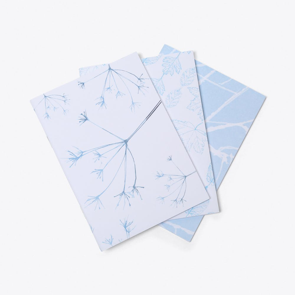 Blue Leaves A6 Notebooks (Set of 3)