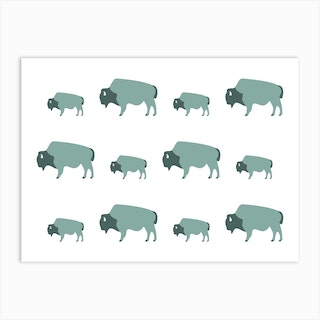 Bison And Baby (Moss) Art Print