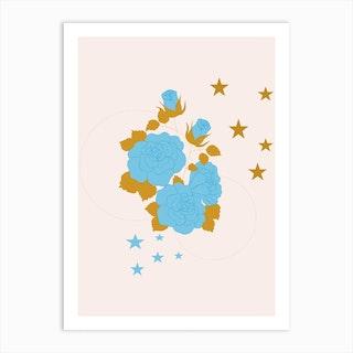 Blue Rose And Geometrics Art Print