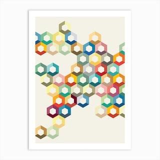 Colourful Honeycomb Art Print