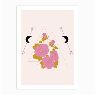 Pink Rose And Geometrics Art Print