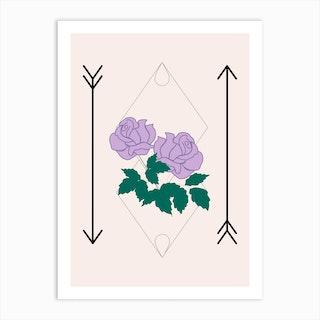 Purple Rose And Arrows Art Print