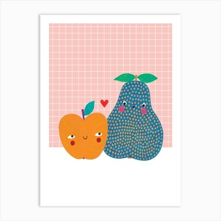 Pear And Apple Art Print
