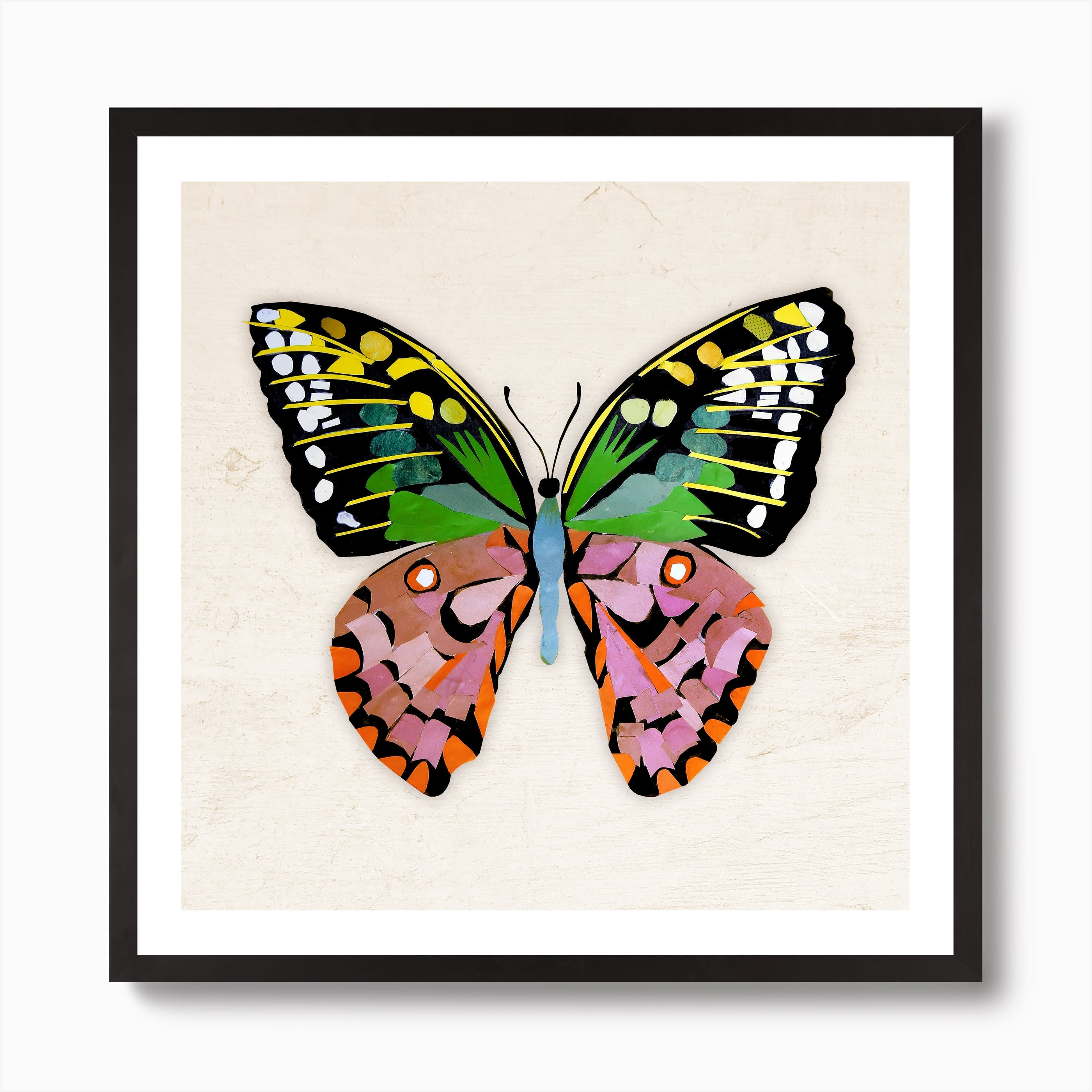 LOVE HEART BUTTERFLY ABSTRACT SQUARE CANVAS ART PRINT Various sizes