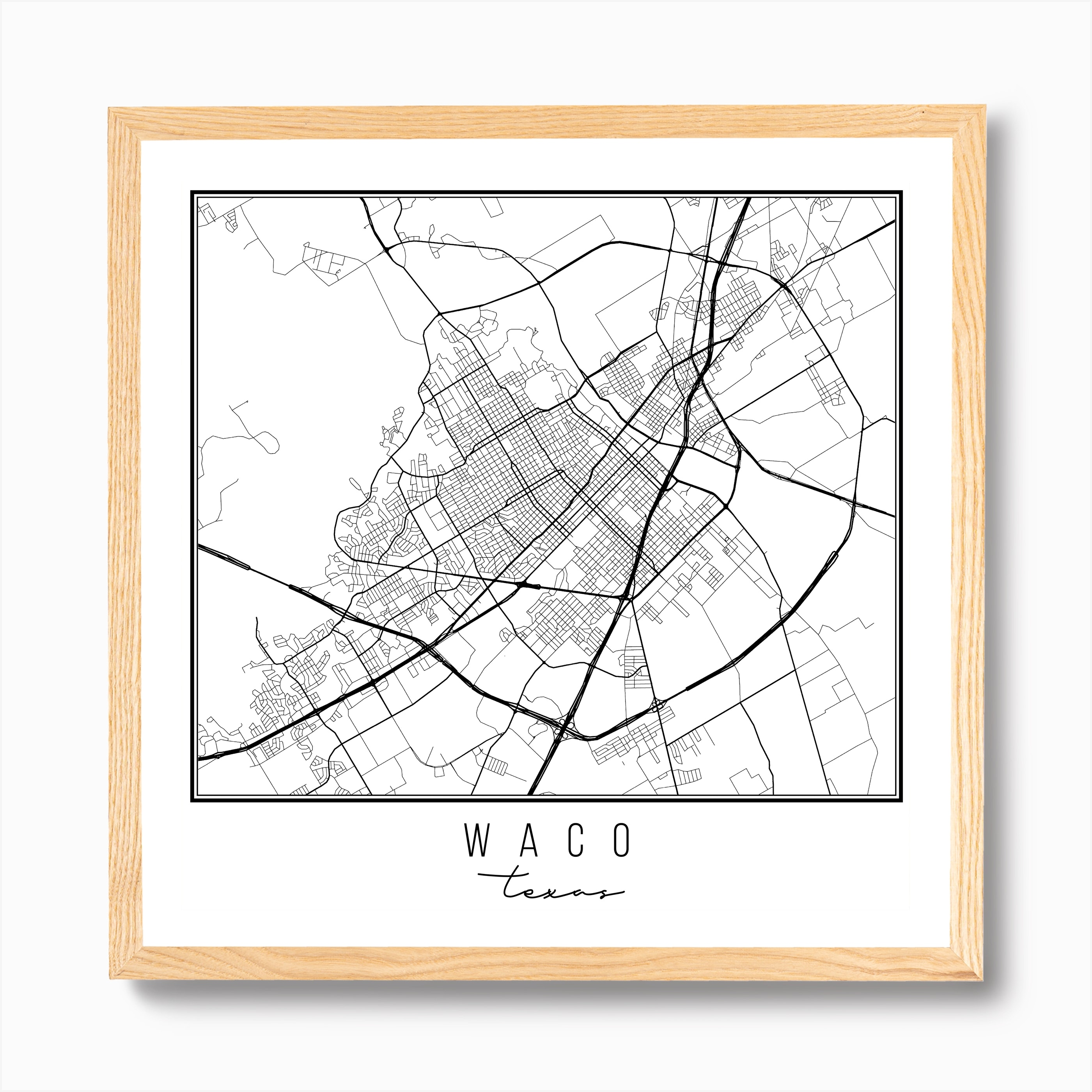 Waco Texas Street Map Art Print By Typologie Paper Co Fy