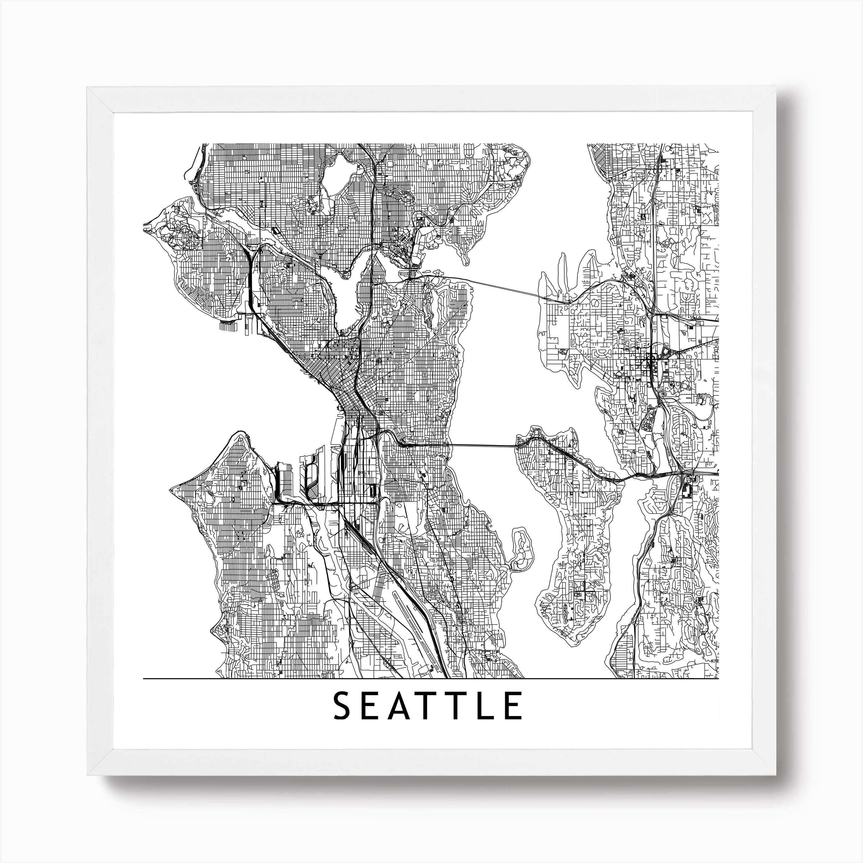 It is a picture of Printable Map of Seattle throughout outline