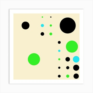 Yayay Dots Teal Square Art Print