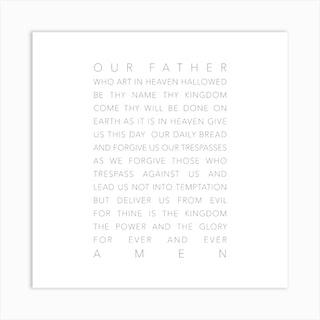 The Lords Prayer White Square Art Print