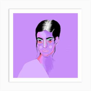 Purple Girl Square Art Print