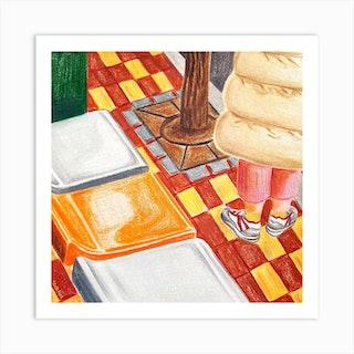An Orange Chair Square Art Print