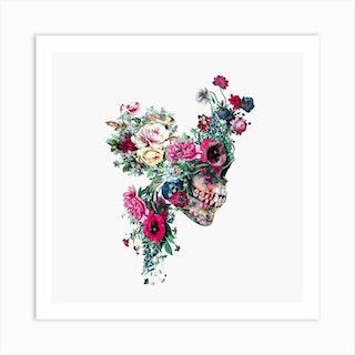 Floral Skull Square Art Print