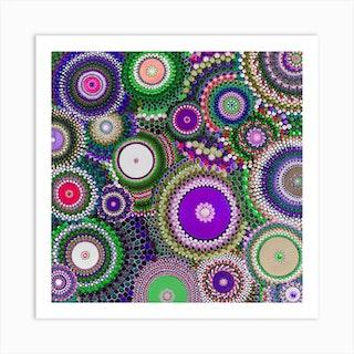 Pohutukawa Purple And Green Square Art Print