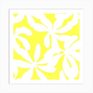 Golden Shadows In Illuminating Yellow Square Art Print