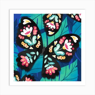 Rainbow Floral Butterfly Square Art Print