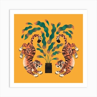 Tiger Tiwns In Marigold Square Art Print