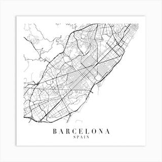 Barcelona Spain Street Map Minimal Square Art Print
