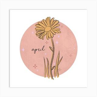 April Birth Flower Square Art Print