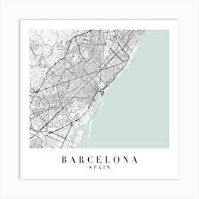 Barcelona Spain Street Map Color Minimal Square Art Print