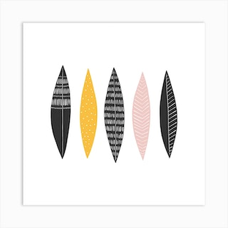 Five Feathers Square Art Print