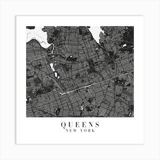 Queens New York Minimal Black Mono Street Map  Square Art Print