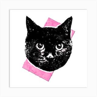 Soft Pink Cat Square Art Print