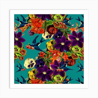 Spring Swallow Square Art Print