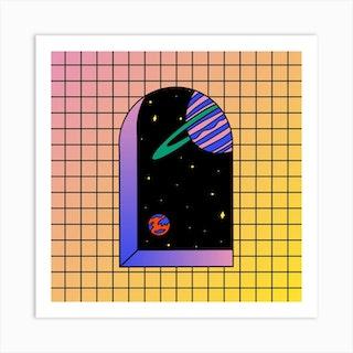 Space Window Square Art Print