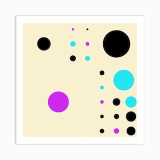 Yayay Dots Purple Mix Square Art Print
