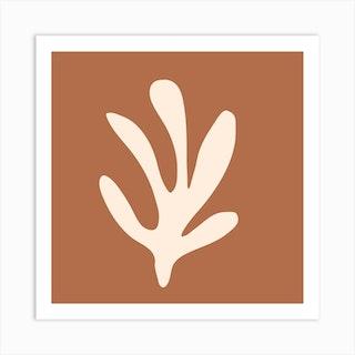 Matisse Leaf Burnt Orange Square Art Print
