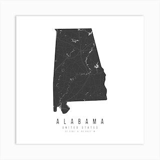 Alabama Mono Black And White Modern Minimal Street Map Square Art Print
