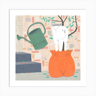 Cat In A Pot Art Print