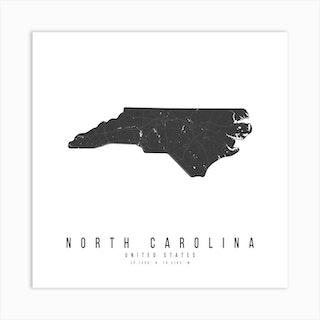North Carolina Mono Black And White Modern Minimal Street Map Square Art Print