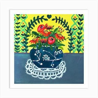 Blue White Japanese Cherry Blossom Ginger Jar Square Art Print
