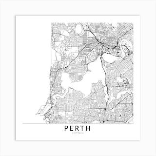 Perth White Map Square Art Print