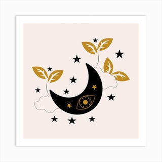 Moon Eyes Stars Clouds And Plants Square Art Print