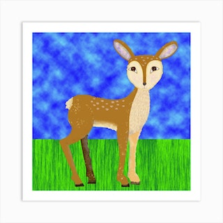 Deer In Forest Square Art Print