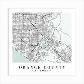 Orange County California Street Map Minimal Color Square Art Print