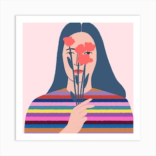 Girl With Flowers Square Art Print