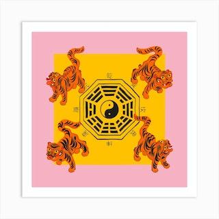 Bagua Tigers Pink Square Art Print