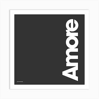 Amore Black Square Art Print
