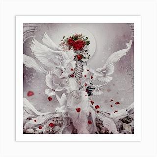 Skeleton Bride 2 Square Art Print