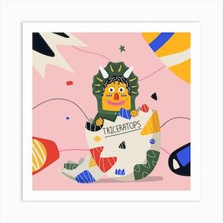 Triceratop Square Art Print