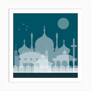 Brighton Landmarks Blue Art Print
