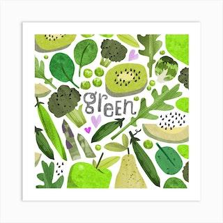 Rainbow Green Square Art Print