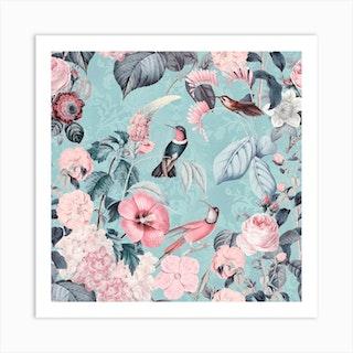 Hummingbirds Paradise Turquoise Art Print