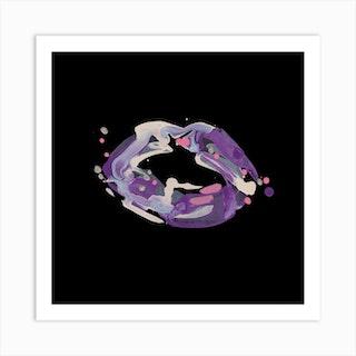 Purple Lips Square Art Print