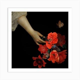 Jan Davidsz De Heem Hand Holding Red Poppies Night Art Print