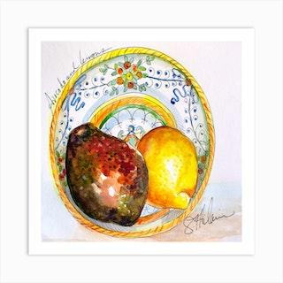 Avocado And Lemons In Artisan Ceramic Square Art Print