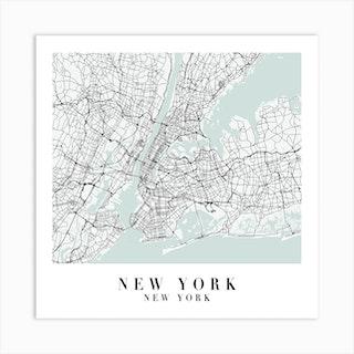 New York New York Street Map Minimal Color Square Art Print