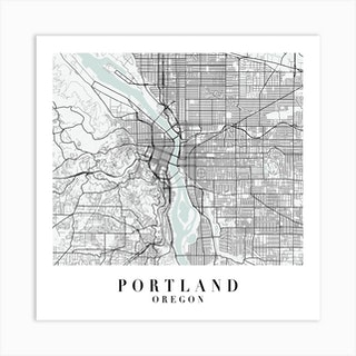 Portland Oregon Street Map Minimal Color Square Art Print